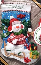 Bucilla Nordic Snowman Snow Shoes Country Christmas Felt Stocking Kit 86817 - $39.95