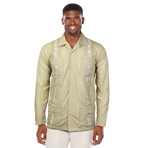 Guayabera Men's Cuban Beach Wedding Long Sleeve Button-Up Casual Dress Shirt (Be
