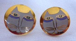 Vintage Signed Laurel Burch Designer MOON CAT Post Earrings - $31.36