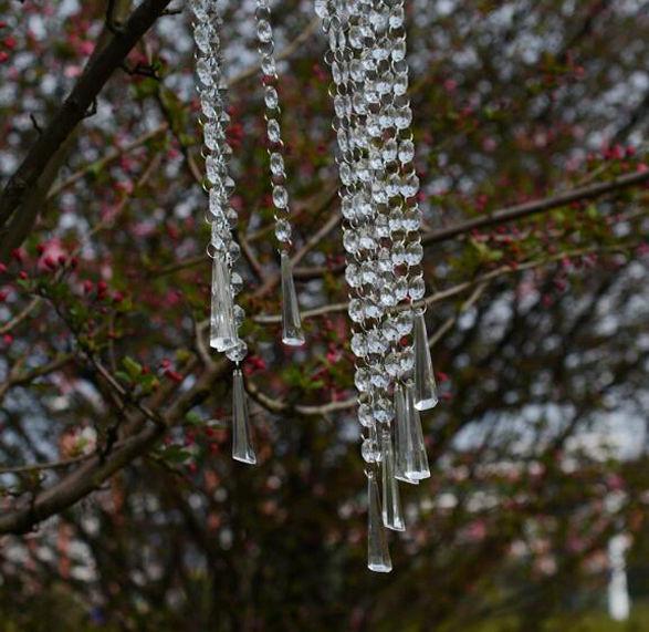 12 Strands Wedding Acrylic Garland Diamond Crystal Bead Chandelier Hanging Decor - $9.49