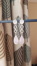 Silver infinity dangle earrings. Pink dangle earrings for ladies, great ... - $32.20