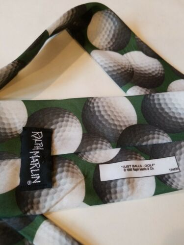 Vintage 1995 Ralph Marlin Neck Tie Green Golf Balls Print Just Balls Used  image 5