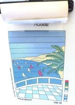 "Palm Beach Scene Needlepoint DMC Canvas 9 1/2"" x 13 3/4"" 16 Count Sail Boats - $6.43"