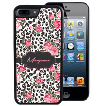PERSONALIZED RUBBER CASE FOR iPHONE X 8 7 6 5 SE 5C PLUS LEOPARD CHEETAH... - $13.98