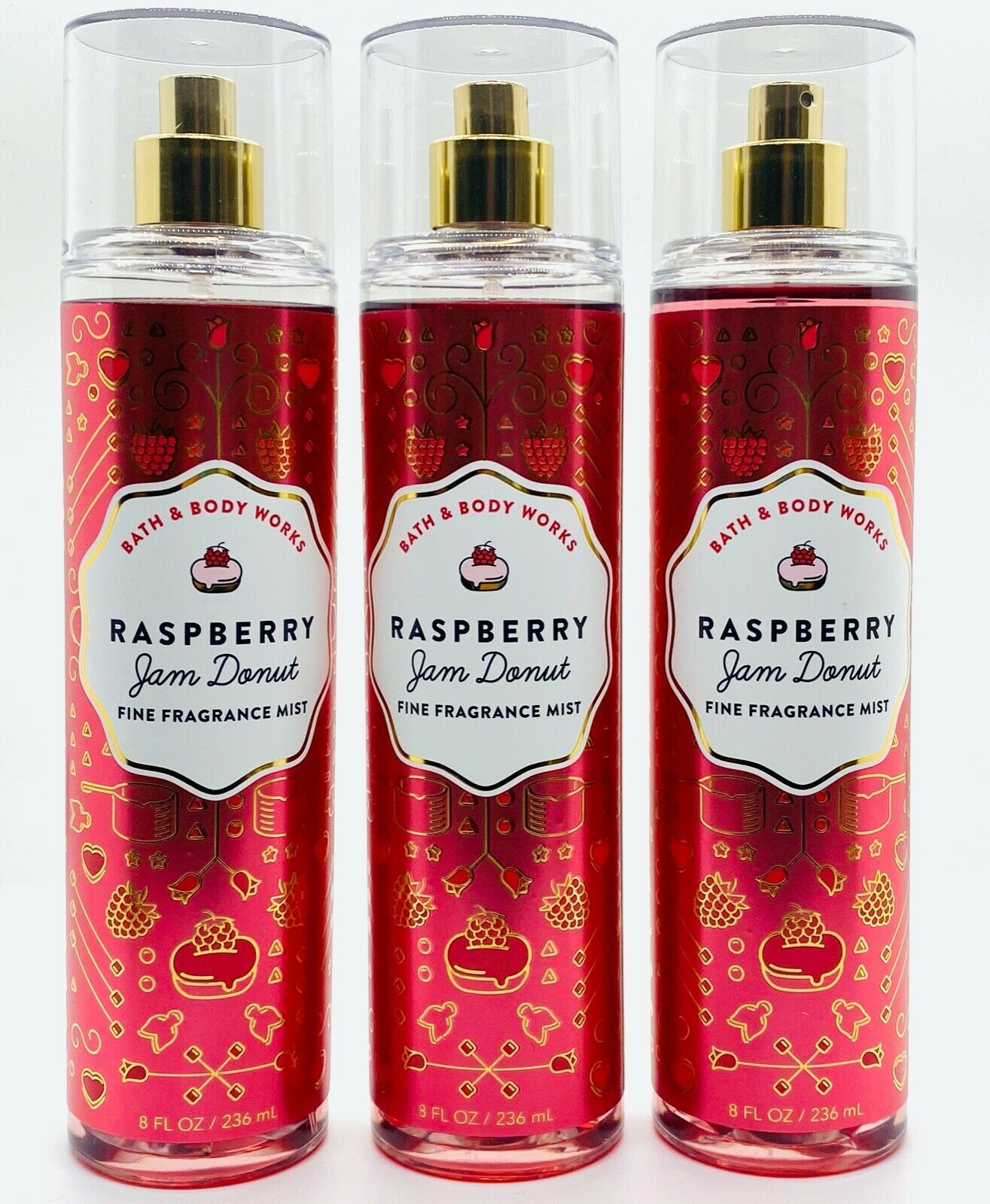 Primary image for 3-Pack Bath Body Works Raspberry Jam Donut Fine Fragrance Mist Spray 8 fl.oz