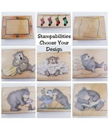 Stampabilities Wood Mounted Stamps Scrapbook Crafting Choose From Designs!  - $9.06