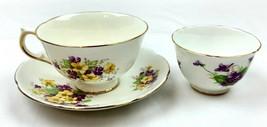 Adderley Fine Bone China England Gold Trim Purple Yellow Flower 2 Teacup... - $29.99