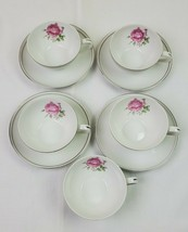 5 Fine China Of Japan Cups & 4 Saucers In The Imperial Rose #6702 Pattern - $28.04