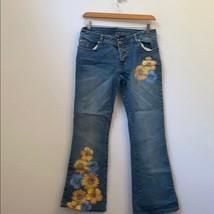 Rocawear blue sunflower boot cut jeans size 1/2 - $47.52
