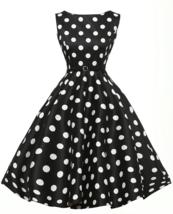 Women's Vintage Hepburn Dress Dot Mini Short Rockabilly Evening Party Ho... - $16.14