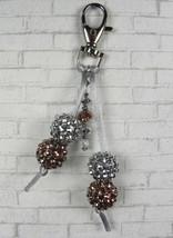 Rhinestone Ball Crystal Copper Silver Cord Keychain Purse Charm Handmade... - $16.48