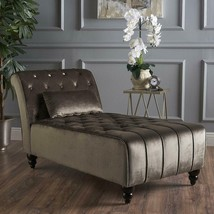 Luxurious Velvet Accent Chaise Lounge Chair Tufted Plush Recline Relax D... - $318.58