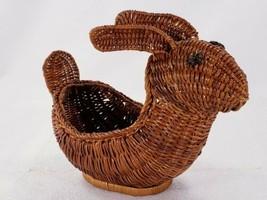 Avon Menagerie Dark Brown Wicker Bunny Basket 9 Inch  - $14.53