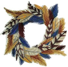 Custom and Unique Fancy Feather Collection[Feathers Wreath] Embroidered ... - $25.73