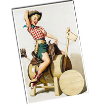 "Two 1950's Cowgirl on Wooden Barrel Horse 11x17"" Reproduction Posters - $12.82"
