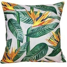 Pillow Case Sofa Cushion Cover Cotton Linen Tropical Jungle Flowers Summ... - $12.37