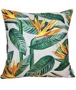 Pillow Case Sofa Cushion Cover Cotton Linen Tropical Jungle Flowers Summ... - $18.28 CAD