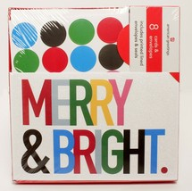 American Greetings Holiday Cards Merry and Bright with Sparkles 8 Pack - $9.40
