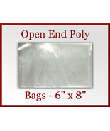 200 Open End Flat Poly Bags 6 x 8 inches USDA FDA Approved - $17.98