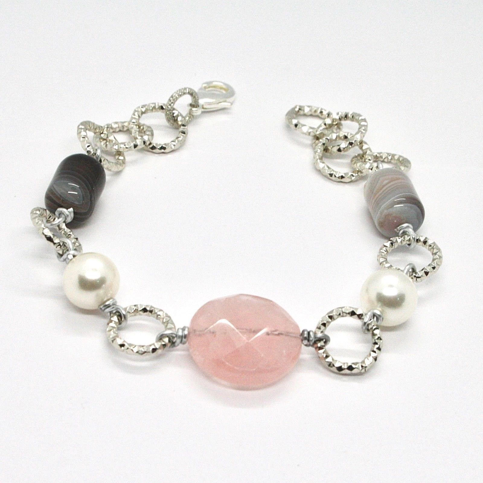 BRACELET THE ALUMINIUM LONG 21 CM WITH PINK QUARTZ CHALCEDONY AND PEARLS