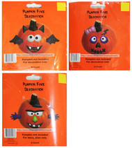 DOLGENCORP* 6pc PUMPKIN FACE DECORATION Plastic HAPPY HALLOWEEN New *YOU... - $2.96