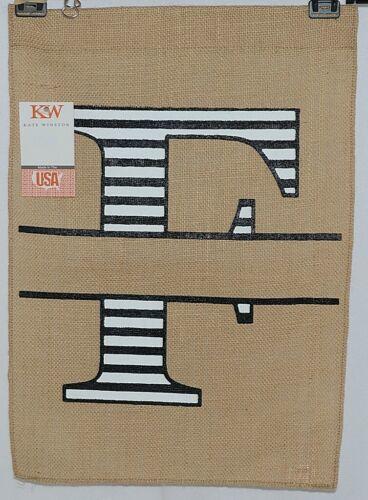 Kate Winston Brand Brown Burlap Monogram Black White F Garden Flag