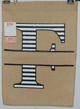 Kate Winston Brand Brown Burlap Monogram Black White F Garden Flag image 1