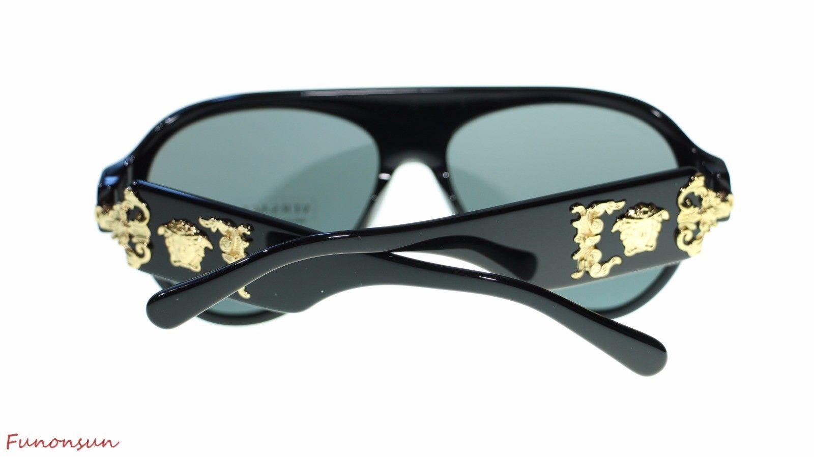 c0fe30b8ecf62 Versace Men s Pilot Sunglasses VE4323 GB1 87 Black Grey Lens 58mm Authentic