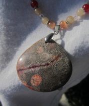 Incredible Gemstone Necklace! Nipomo Coral Fossil necklace - $47.00