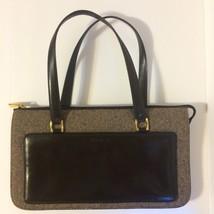 Vintage Cole Haan Handbag Brown Leather & Tweed 1950's Swagger Style Film Prop - $35.75