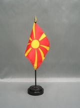 "MACEDONIA 4X6"" TABLE TOP FLAG W/ BASE NEW DESK TOP HANDHELD STICK FLAG - $4.95"