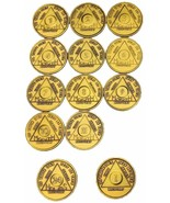 Set of AA Month Medallions Months 1 - 11 1 Year and 24 Hours Sobriety Chips - £14.65 GBP