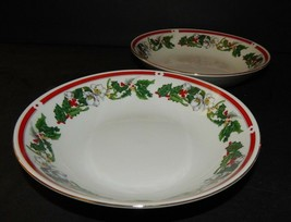 2 St Maria Lynns Fine China Dessert Soup Bowls Christmas Holly  Berry Re... - $27.71