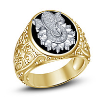 Flower Ganpati Mens Ganesha Wedding Anniversary Diamond Pinky Ring in 92... - $107.49