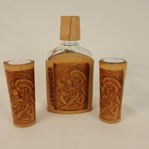 Algodones Mexico Leather Wrapped Flask and 2 Tall Shot Glasses - $19.34
