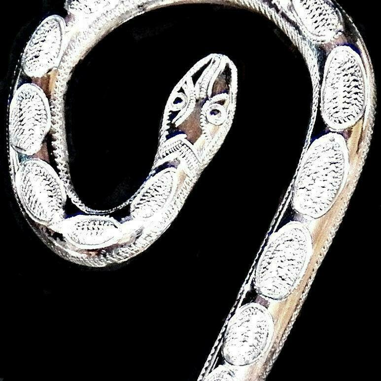 Vintage Sterling Silver Rattlesnake Snake Shank Low Curb Western Bridle Bit