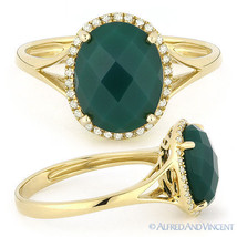 2.51 ct Checkerboard Oval Green Agate Diamond Halo Cocktail Ring 14k Yel... - £318.41 GBP