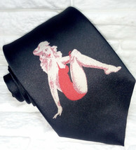 Black men's necktie 100% silk pin-up red dress Made in Italy ties gift idea - $27.46