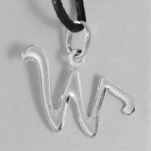 18K WHITE GOLD PENDANT CHARM INITIAL LETTER W, MADE IN ITALY 0.75 INCHES, 19 MM image 2