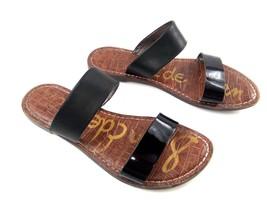 Sam Edelman krista Slides Women's 8 Black Leather Slipon Flats sandals - $39.42
