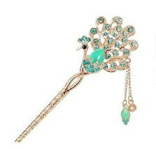 Classical Style Peacock Hairpin Metal Rhinestones Hair Decoration, Blue