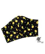 Lemon Yellow Face Mask Lemons Black Cotton Adjustable Facemask Handmade  - $8.00