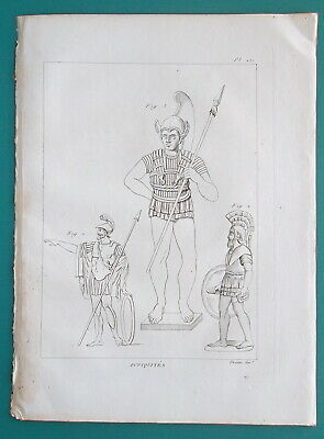 Primary image for ANTIQUITIES Greek Etruscan Warriors Soldiers Arms Costume - 1804 Antique Print