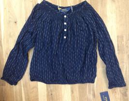 Ralph Lauren Childrenswear Girls' Peasant Top, Blue/White, Size 4/4T - $24.74