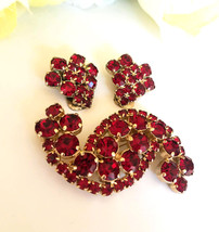 Red Rhinestone Brooch & Earring Set, S Shaped Brooch, Vintage Rhinestone... - $55.00
