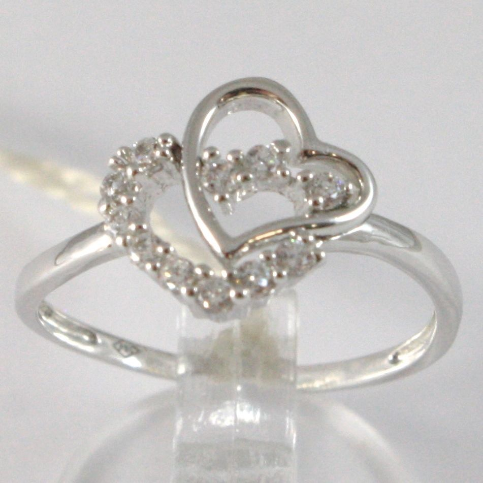 WHITE GOLD RING 750 18K, DOUBLE HEART WITH ZIRCON, MADE IN ITALY