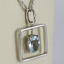 18K WHITE GOLD NECKLACE, OVAL CUT AQUAMARINE 1.80 ct PENDANT WITH SQUARE FRAME image 2