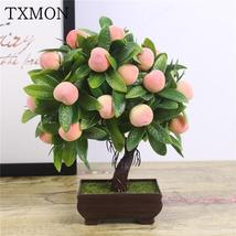 Artificial Plants Bonsai Orange Peach Fruit Tree Potted For Home Living ... - $16.99+