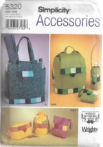 Simplicity Accessories Shirley Botsford Pattern #5320-Bag-Back Pack-Fann... - $5.86