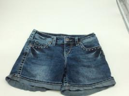 Silver McKenzie Flap Jean Shorts Medium Wash Stretch Denim Cuffed Large ... - $19.99